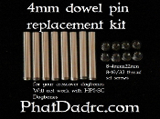 Phatdad replacement 4mm dowel pins and set screws.